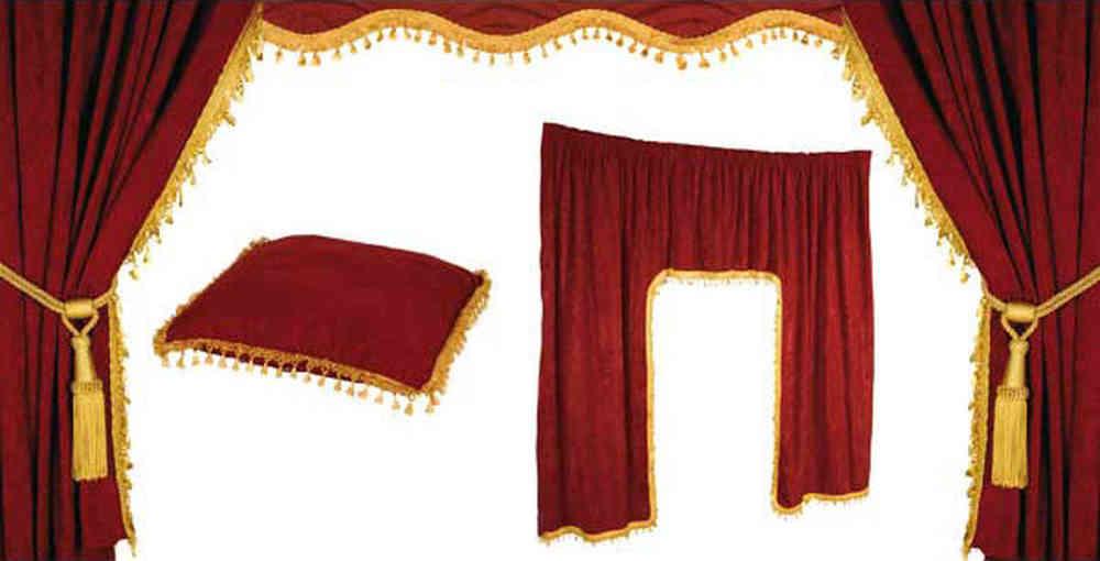 LKW Gardinen Set, 5tlg. mit Kissen   rot / gold   4260389461007
