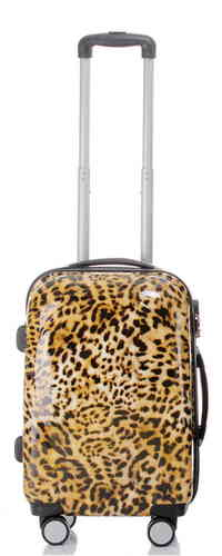 Carbon Reise Koffer Trolley - BB Leopardenfell - Gr. M