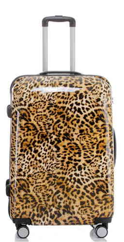 Carbon Reise Koffer Trolley - BB Leopardenfell - Gr. XL