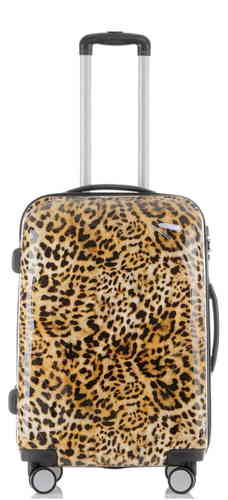 Carbon Reise Koffer Trolley - BB Leopardenfell - Gr. L